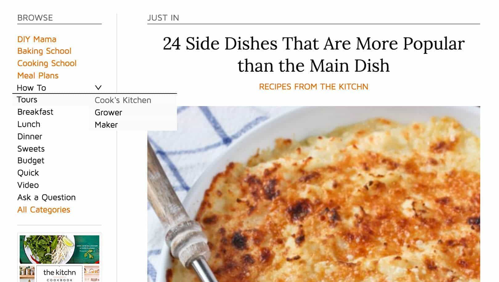 Drop-downs are used strategically at thekitchn.com.