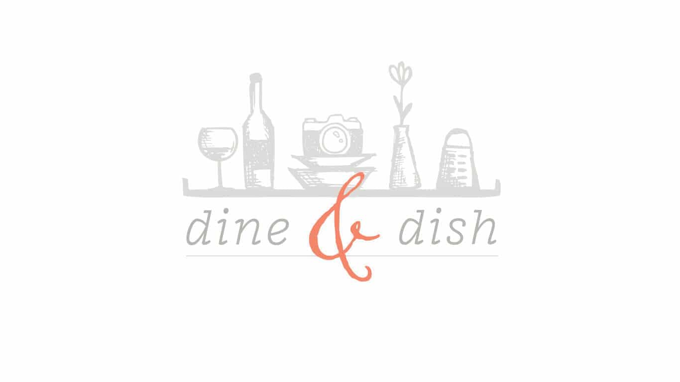 Dine&Dish logo, which has wine glasses, a grater, a camera and a flower.