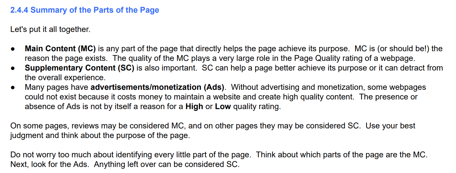 Different parts of a page include main content, supplementary content and ads
