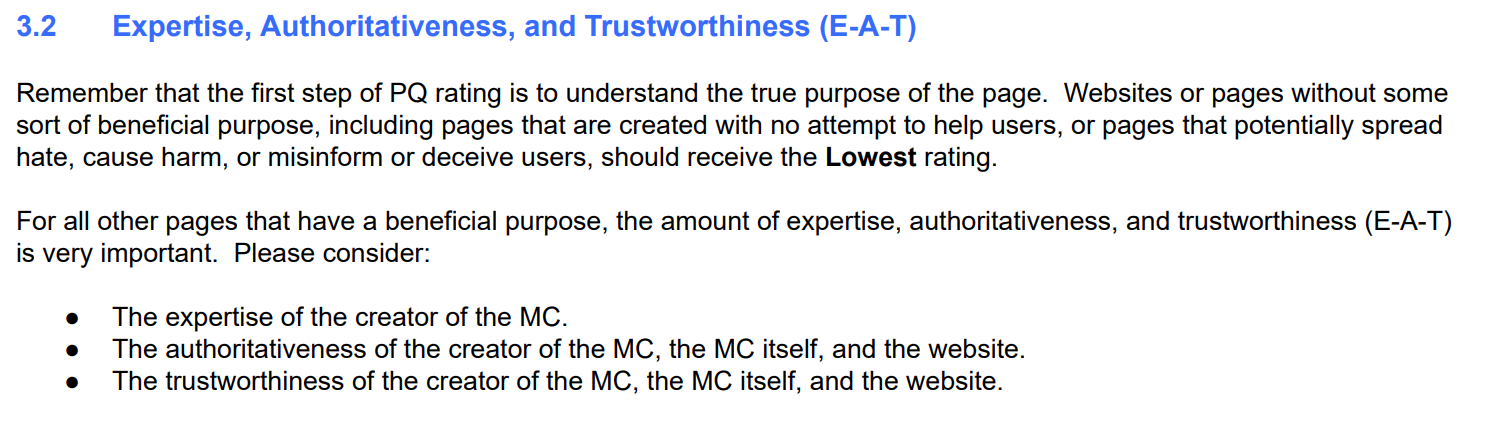 Expertise, Authority, Trustworthiness score from Quality Search Rater Guidelines