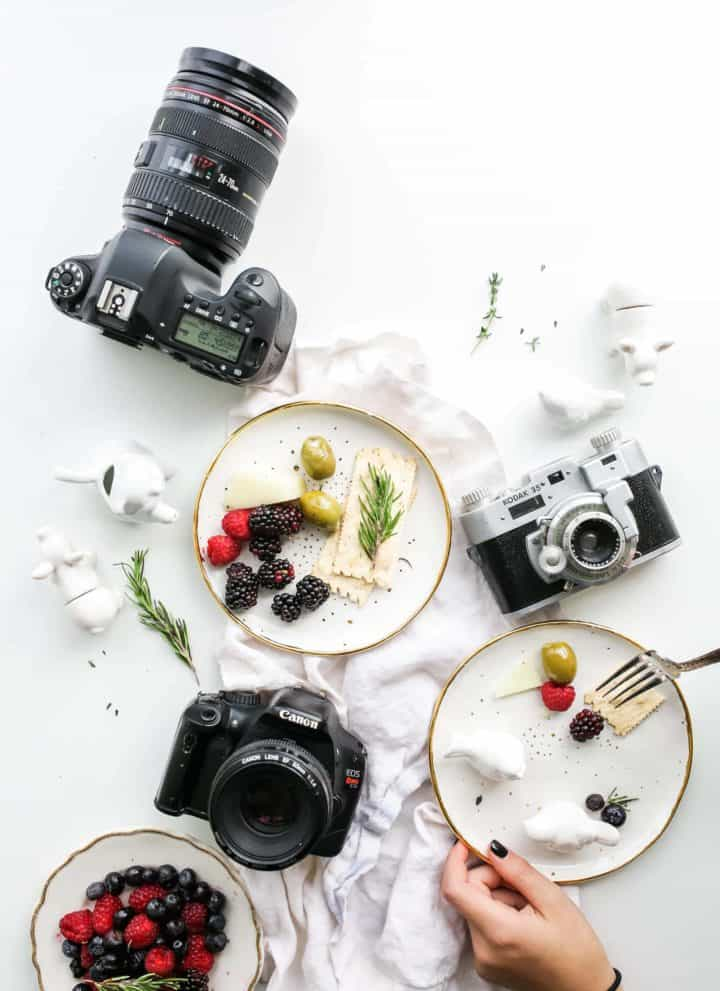 camera and food styling setup.