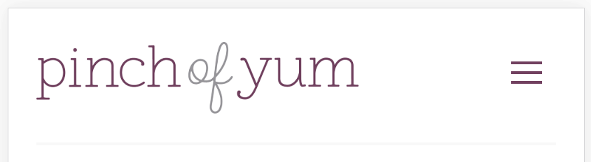Example of inline header from pinch of yum