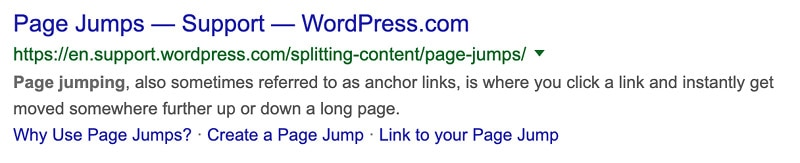 Example of extra links in search engines