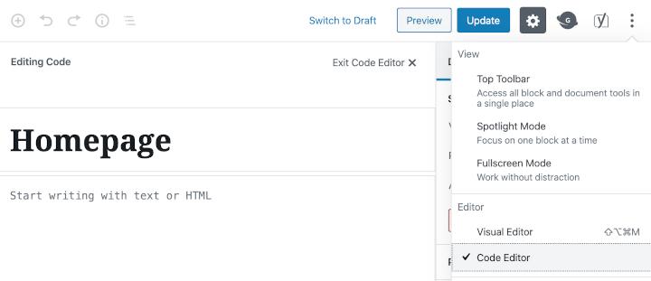 "Block editor's ""code editor"" screen"