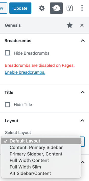page layout option in the genesis sidebar
