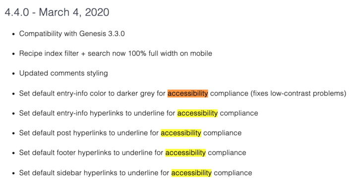 accessbility compliance updates to Foodie Pro version 4.4.0