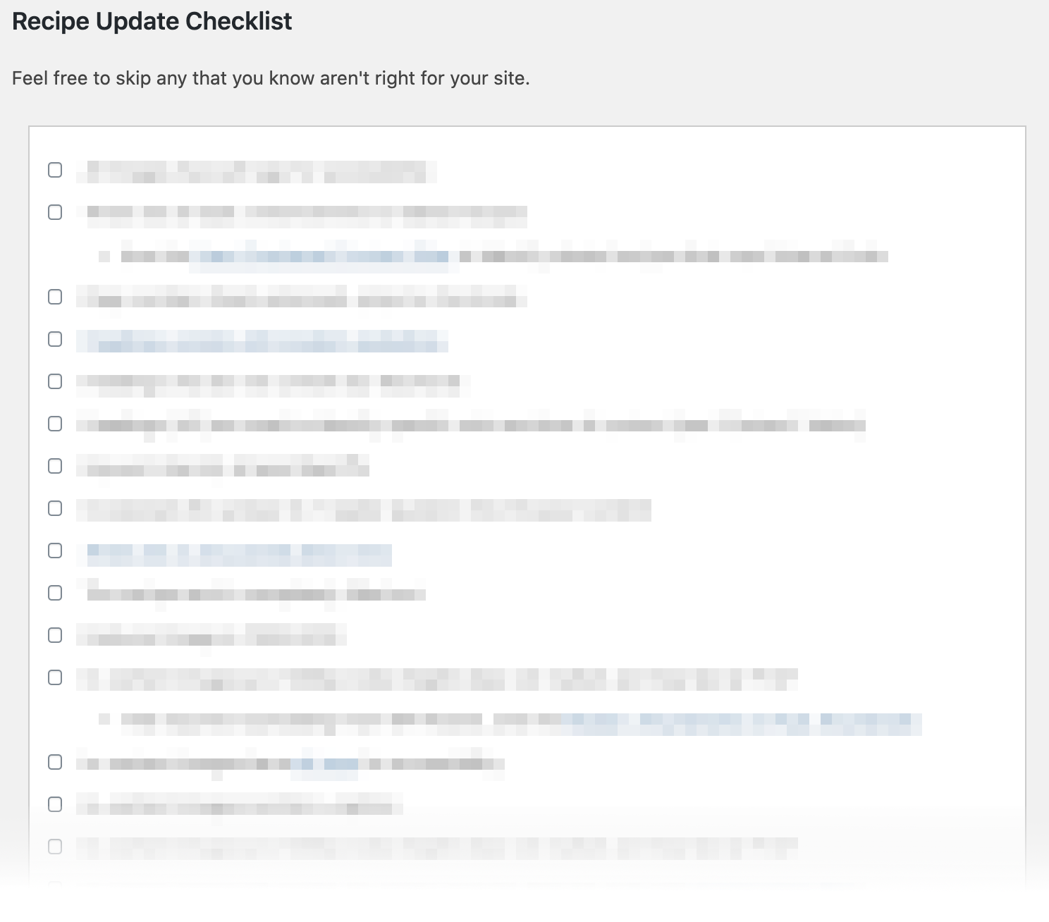 Example content checklist (content blurred)