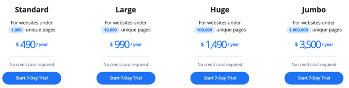 accessibe pricing plans - from $490/year to $3500/year