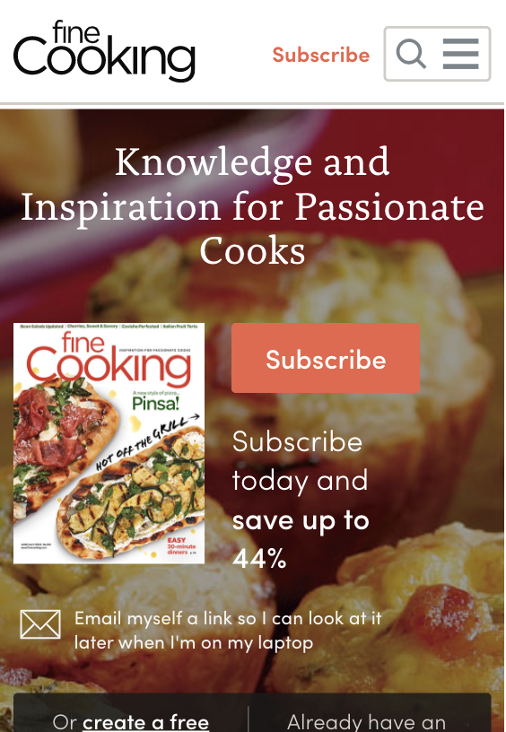subscribe button as seen on finecooking website