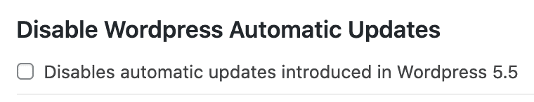 Feast Plugin setting to disable WordPress automatic updates