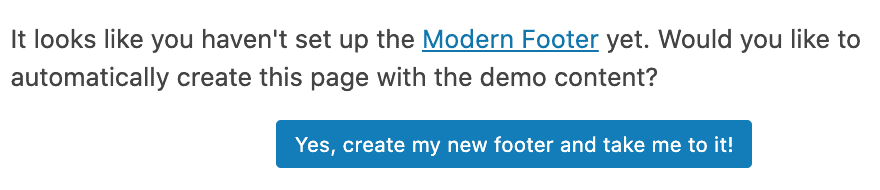 button to create the modern footer