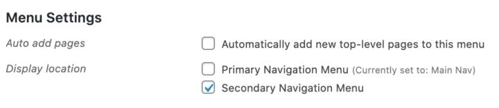 theme menu settings for secondary navigation menu