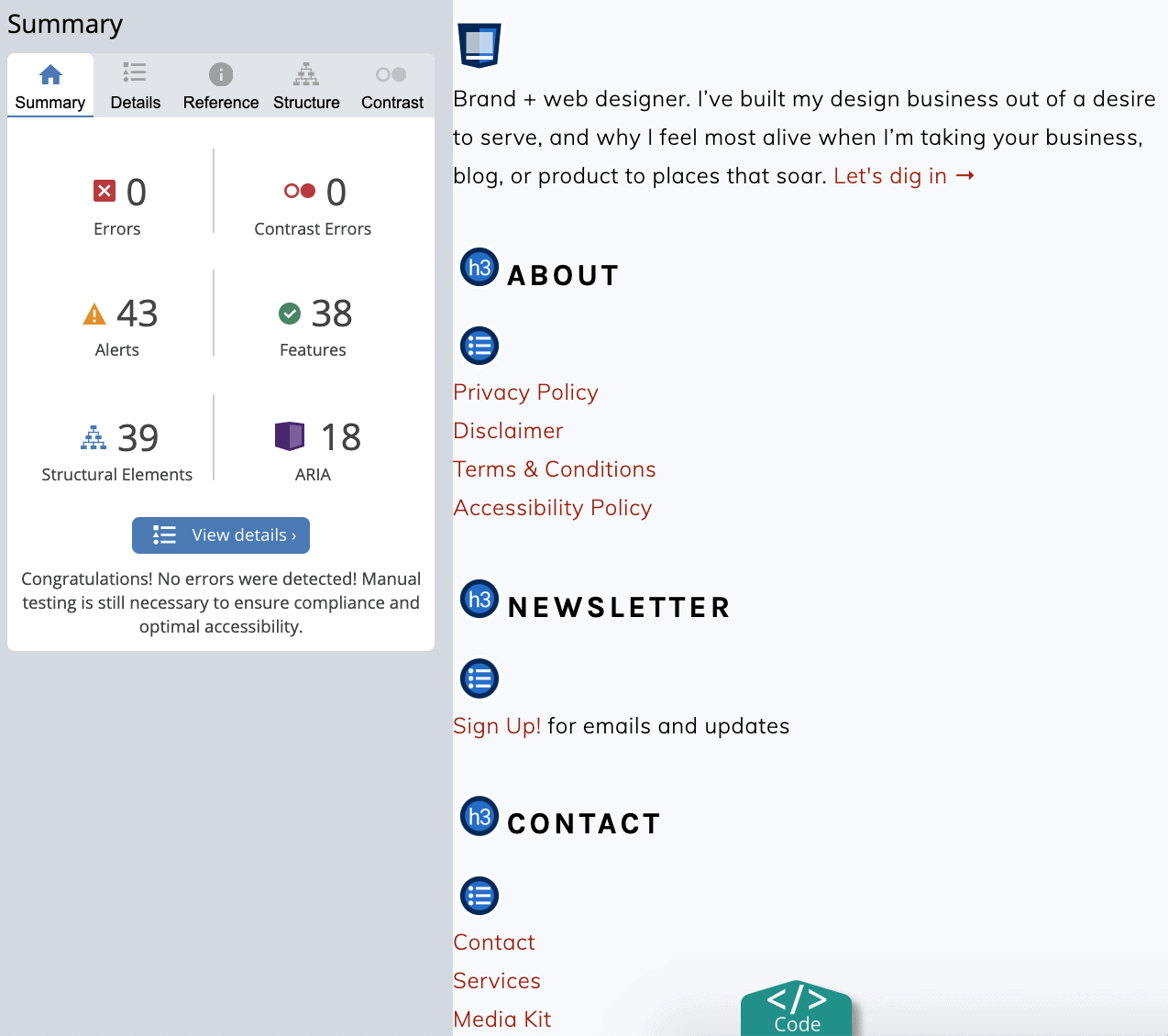 example accessibility report for foodiepro.com using webaim's wave accessibility tool