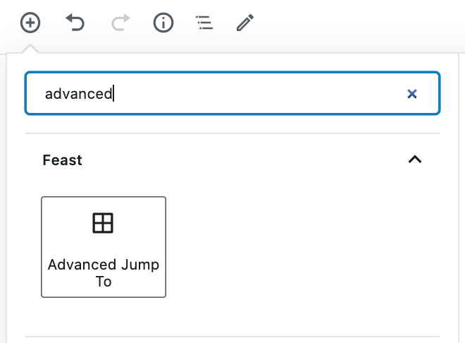 inserting the advanced jump to block, in the block editor