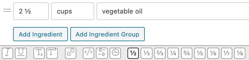 WP recipe maker interface showing fractions
