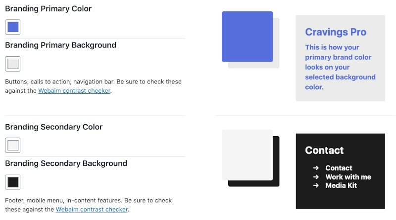 screenshot of the feast plugin's colors settings
