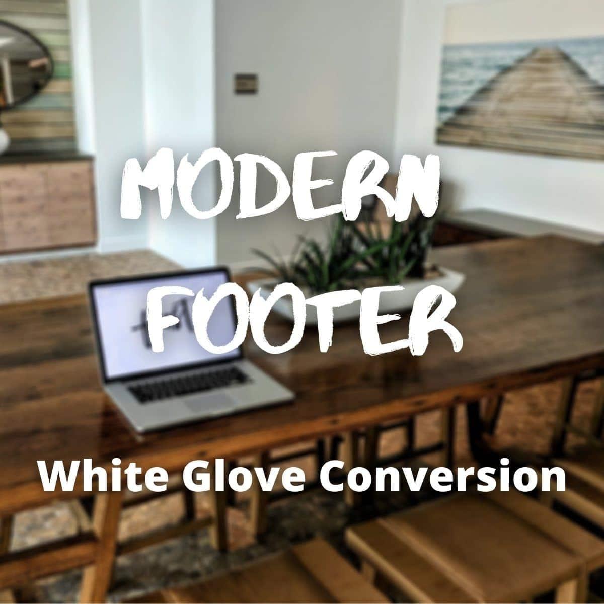 modern footer white glove service