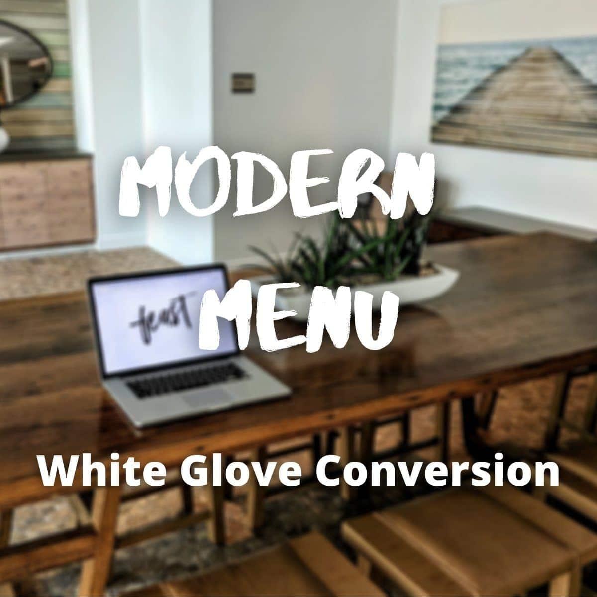 modern menu white glove service