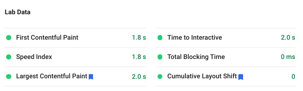 core web vitals passing grade via pagespeedinsights