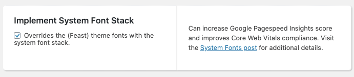 implement system font stack setting in the Feast Plugin, with a checkbox