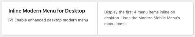 inline modern menu setting